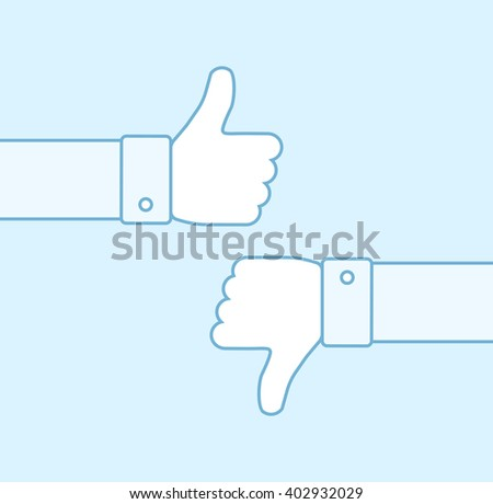 Thumbs up and thumbs down line icons. Thumbs outline icons. Positive and negative feedback. Good and bad gestures. Like and dislike concept. Vector illustration - stock vector