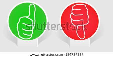 Thumbs up and thumbs down on paper - stock vector