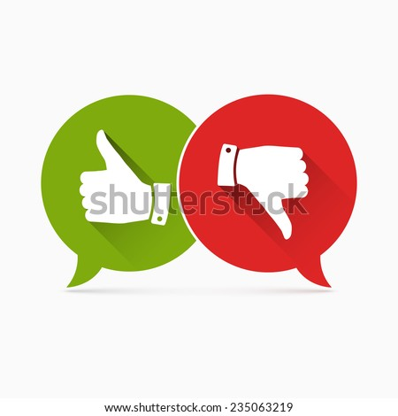 Thumbs up and Thumbs down symbol with long shadow - stock vector