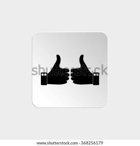 Thumbs up  - black vector icon - stock vector
