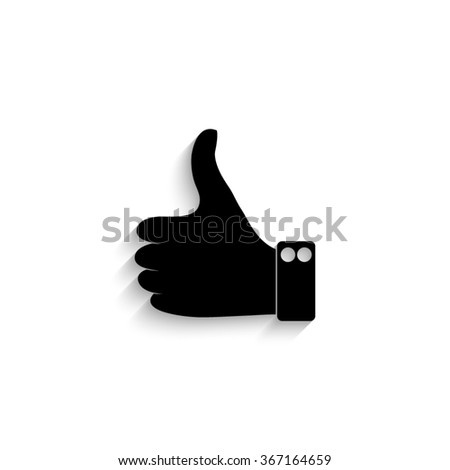 Thumbs up - black vector  icon with shadow - stock vector