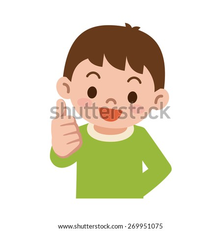 Thumbs up boy - stock vector