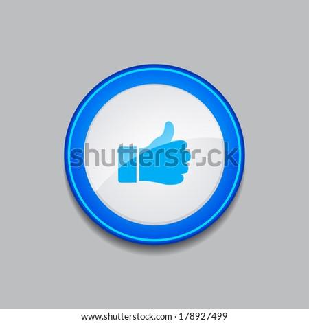 Thumbs Up Circular Vector Blue Web Icon Button  - stock vector