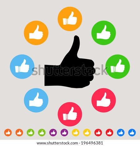 Thumbs up - colorful vector icon set - stock vector