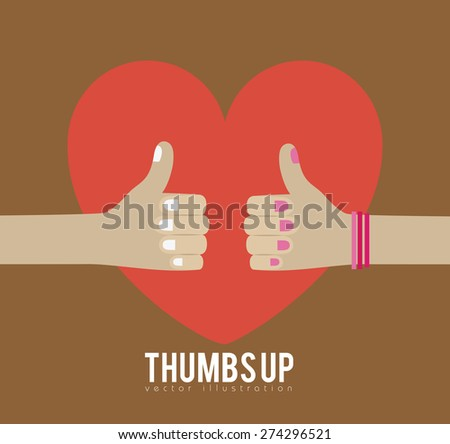 Thumbs up design over brown background, vector illustration - stock vector