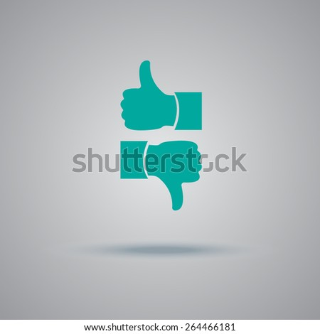 thumbs up, down, icon, vector, illustration. - stock vector