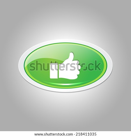 Thumbs Up Elliptical Vector Green Web Icon Button