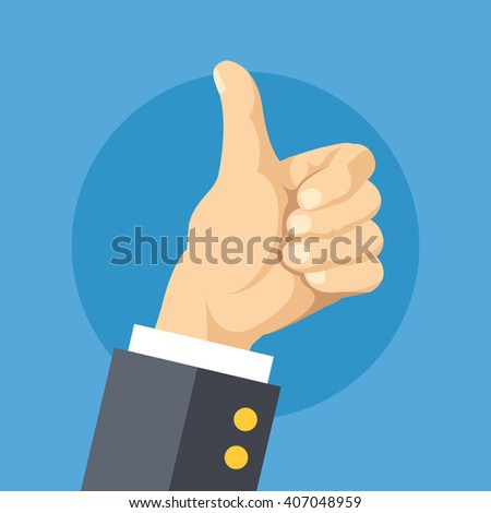 Thumbs up flat design concept. Vector illustration