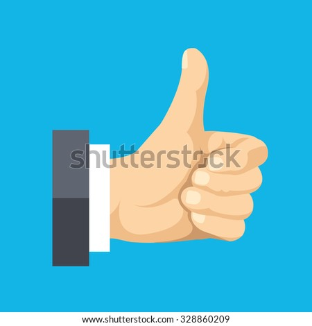 Thumbs up flat icon. Social network like concept. Modern flat design vector illustration isolated on blue background - stock vector