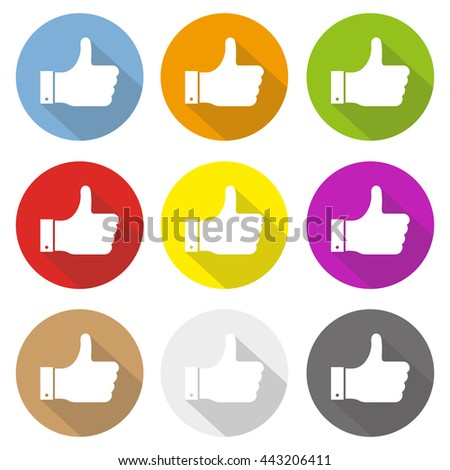 thumbs up hand, like concept social media vector flat icon set long shadow illustration set