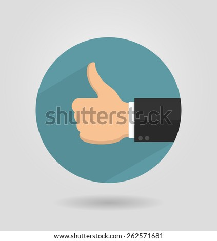 Thumbs up icon in flat style with long shadow - stock vector