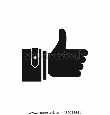 Thumbs up icon in simple style isolated on white background - stock vector
