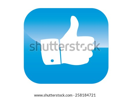 thumbs up icon on a blue background - stock vector