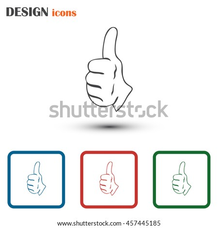 thumbs up icon , vector illustration. Line icon