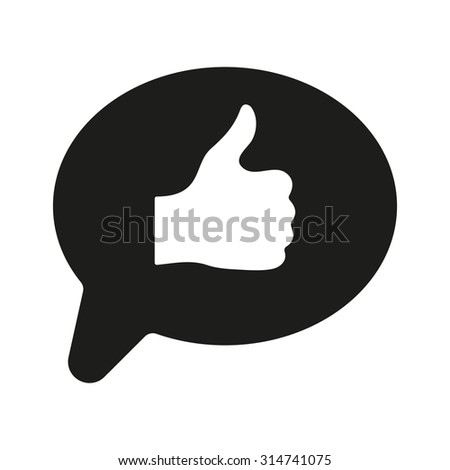 Thumbs up in the speech bubble icon. Social network and web communicate, like symbol. Flat Vector illustration - stock vector