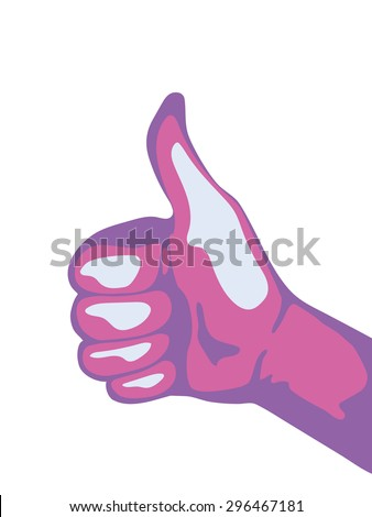 Thumbs up isolated on white background. Vector illustration