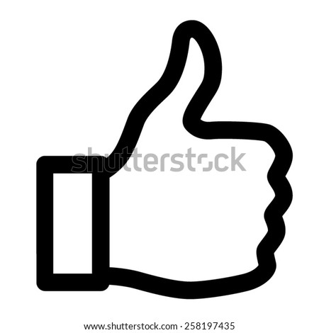 Thumbs up like line art icon for apps and websites - stock vector