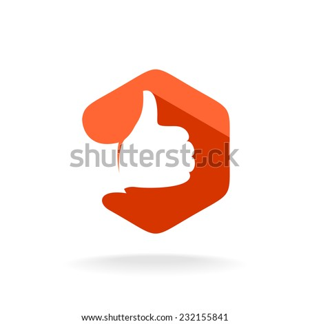 Thumbs up logo template. Like sign with hex background. - stock vector