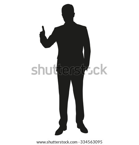 Thumbs up. Man vector silhouette - stock vector