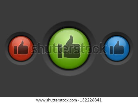 Thumbs up or like buttons. Vector illustration. - stock vector