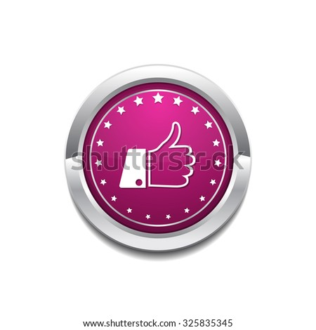 Thumbs Up Pink Vector Button Icon