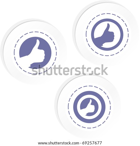 Thumbs up. Quality trust icon. Approve sticker. - stock vector