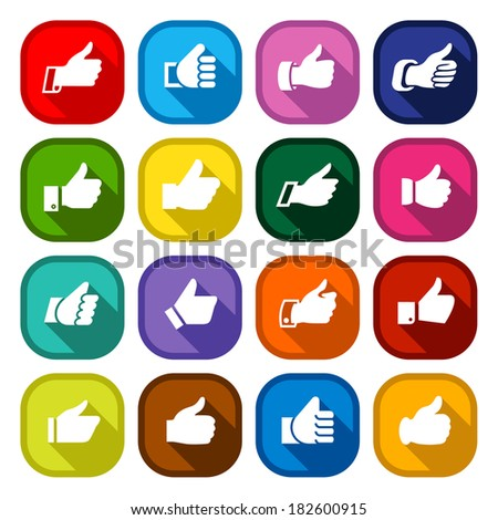 Thumbs up, set icons on round colored buttons, hands with shadow. Vector illustration - stock vector