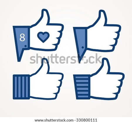 Thumbs up, set of hands in different styles - stock vector