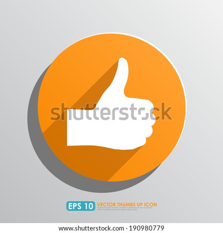 Thumbs up sign in orange circle - vector icon - like & favourite concept - stock vector