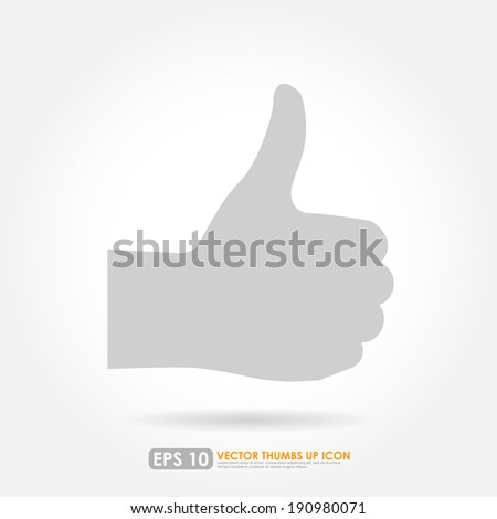 Thumbs up silhouette on white background - vector icon -  like & favorite concept - stock vector