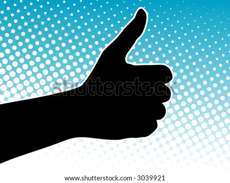 Thumbs Up Success Hand Sign over halftone background (Vector)