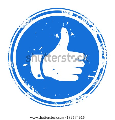Thumbs up symbol blue round rubber stamp icon isolated on white background. Vector illustration - stock vector