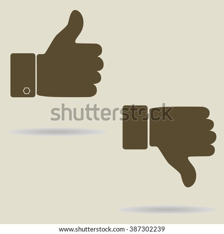 Thumbs up Thumb down icons. Vector illustration. - stock vector