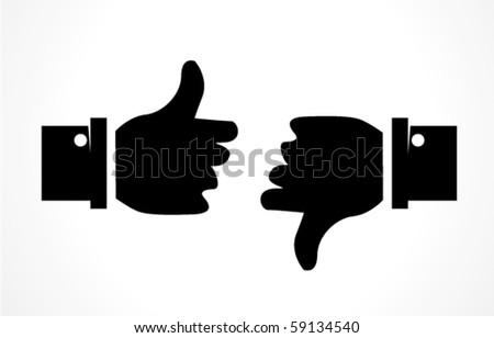 thumbs up thumbs down - stock vector
