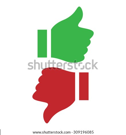 Thumbs up, thumbs down, green and red sillouettes - stock vector