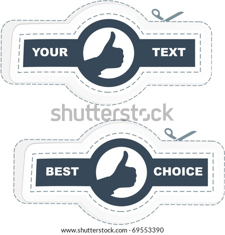 Thumbs up. Vector labels. - stock vector