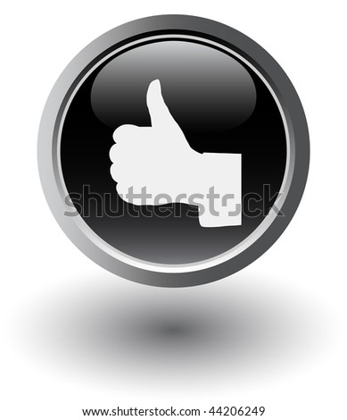 thumbs up web black button on white - stock vector