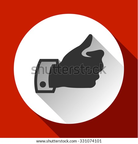 Thumbs up, white round buttons on color background - stock vector