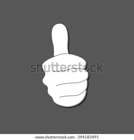 thumbs up - white vector  icon  with shadow - stock vector