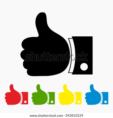 Thumbs up with different color version - vector icon