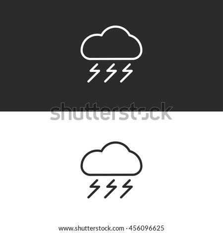 thunder icon. weather line icon - stock vector