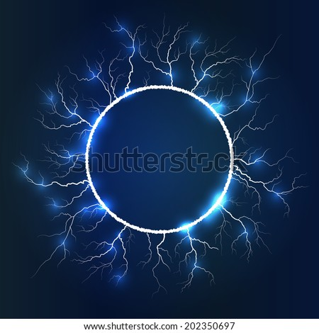 Thunder Lighting, Round Frame Design, Vector Illustration