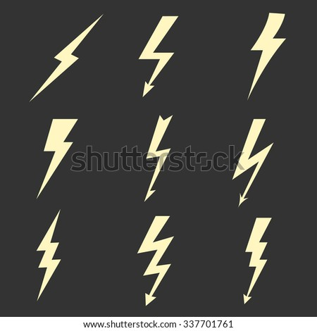 Thunder Lightning flat icons set, bolt zigzag symbol, flash and arrow, danger light power sign. Vector - stock vector