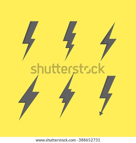 Thunder silhouette. Thunder Bolt icon. Thunder set of black icons storm lightning. Thunderbolt silhouettes. Set of Thunder Icons. Thunder bolt vector. Thunder strike icon. Thunder with lightning. - stock vector