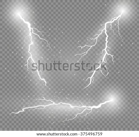 Thunder-storm and lightnings. Magic and bright lighting effects. - stock vector