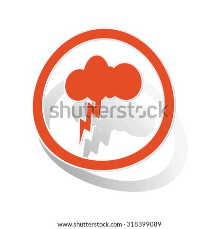 Thunderbolt sign sticker, orange circle with image inside, on white background - stock vector