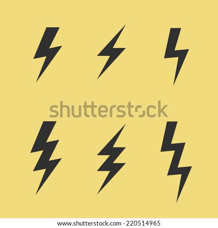 Thunderbolt signs on yellow background. Set of vector flash icons.