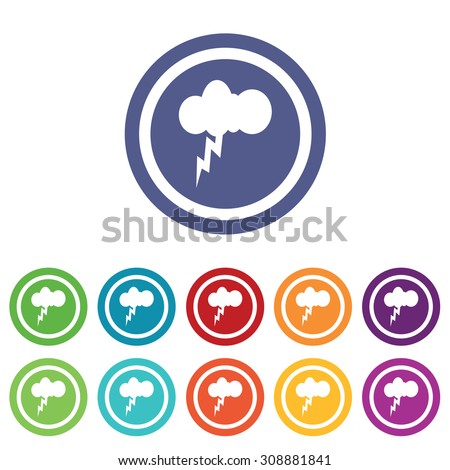 Thunderbolt signs set, on colored circles, isolated on white - stock vector