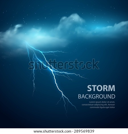 Thunderstorm Background With Cloud and Lightning, Vector Illustration. EPS 10 - stock vector
