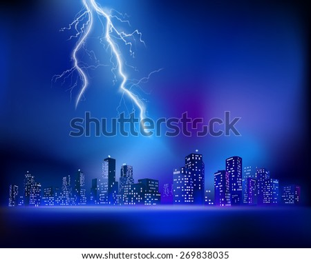 Thunderstorm over the City. Vector illustration - stock vector